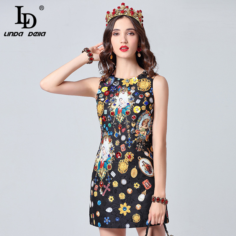 44e2b41b309 ... LD LINDA DELLA Designer Summer Dresses Women s Sleeveless Gorgeous  Crystal Beading Jacquard Short Black Vintage Dress