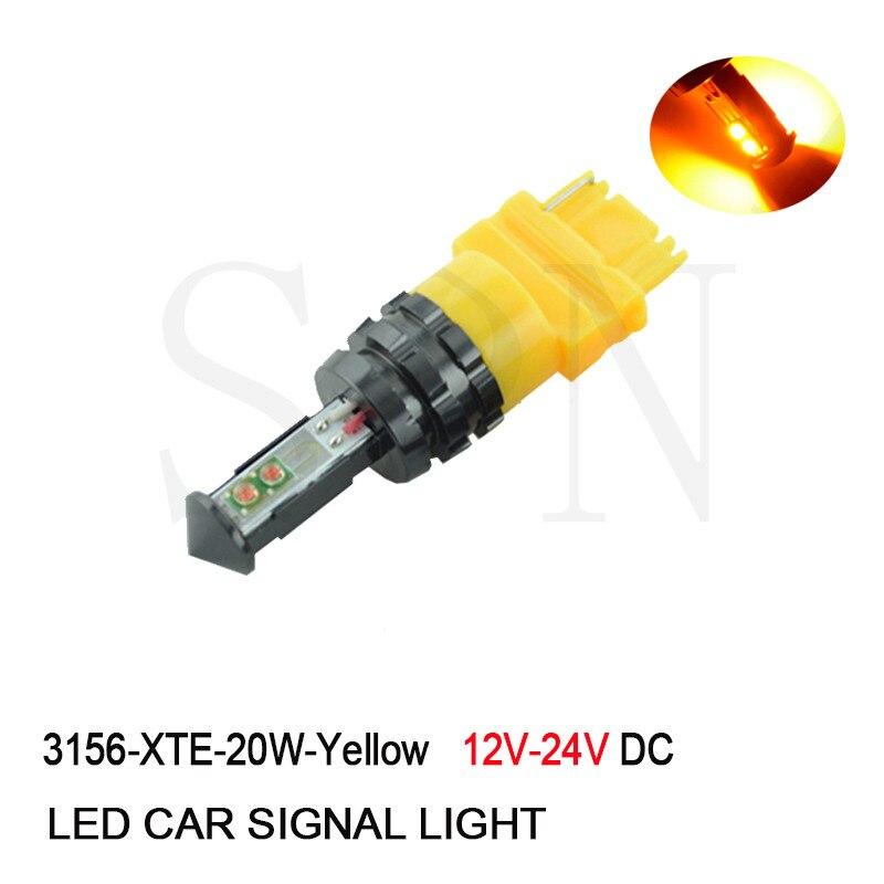 1Pcs 20W 3157 3156 CANBUS Amber Yellow Orange P27W P27/7W High Power XTE Chips Car Brake Reverse Turn Signal Light Bulbs