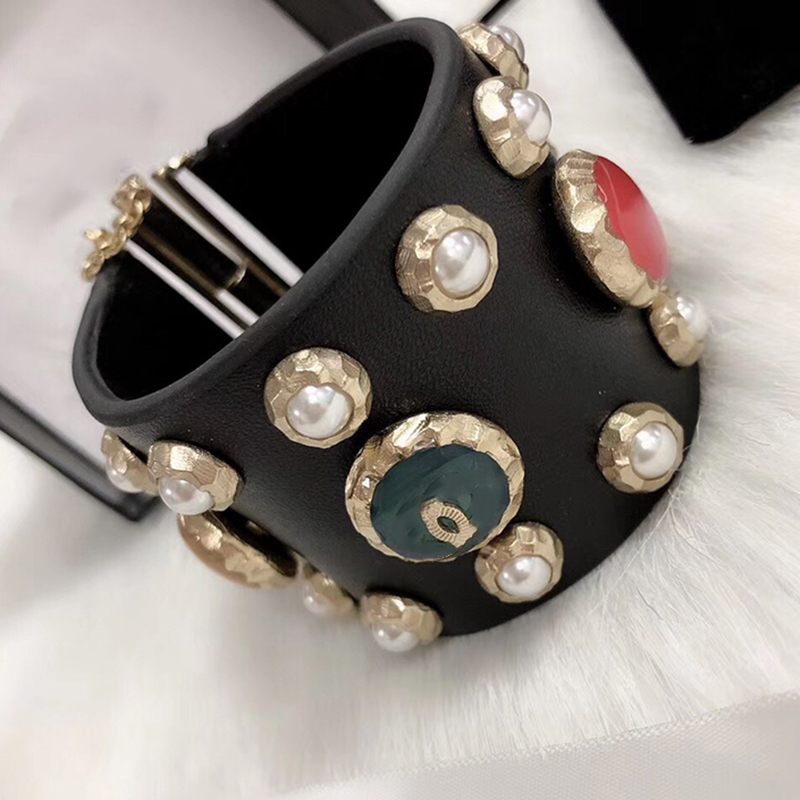 Hot Brand Gold Color Fashion Jewelry For Women Leather Colorful Beads Bracelet Fashion Praty Jewelry C