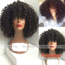 200 Density Free Shipping Afro Kinky Curly Wigs Black Color Heat Resistant Fiber Synthetic Lace Front Wig With Baby Hair Stock