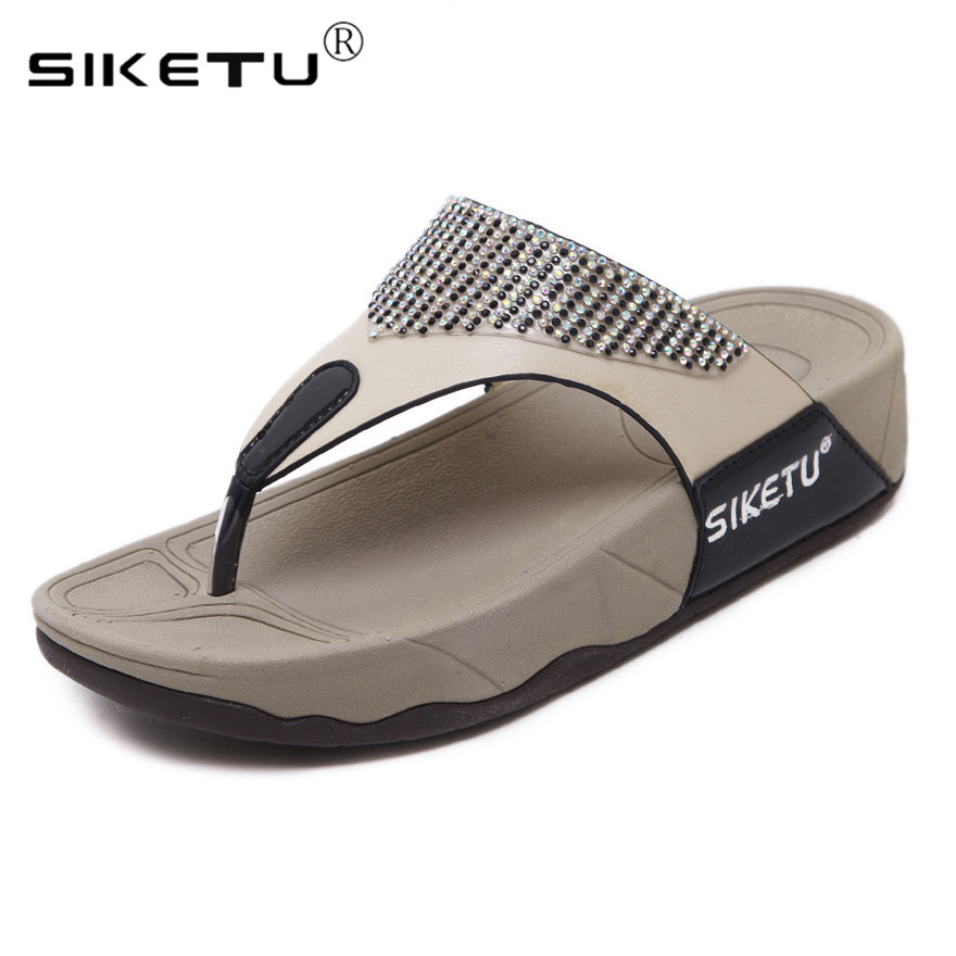 SIKETU Casual Slippers Rhinestone Sandals Women Flip Flops Summer Shoes Woman Comfortable Soft Thick Bottom Heels beach sandals zhelda платье до колена
