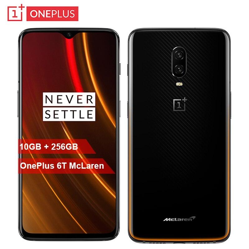 D'origine OnePlus 6 t McLaren Mobile Téléphone 6.41 pouces 10g RAM 256g ROM Snapdragon 845 Octa Core 16MP + 20MP Double Caméra NFC Smartphone