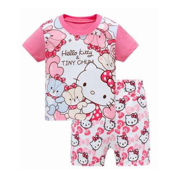 Горячая Распродажа летние Пижамные комплекты для девочек короткий рукав Детская  Пижама с героями мультфильмов Детская Пижама 3373ec1ab80b5