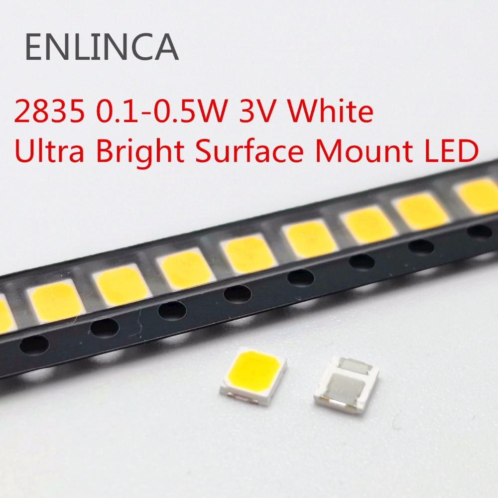 100pcs 0.1-0.5W <font><b>SMD</b></font> <font><b>LED</b></font> <font><b>2835</b></font> 1/2W 0.5W 0.2W 0.1W 3V beads light cool cold warm white Surface Mount PCB Light Emitting Diode Lamp image