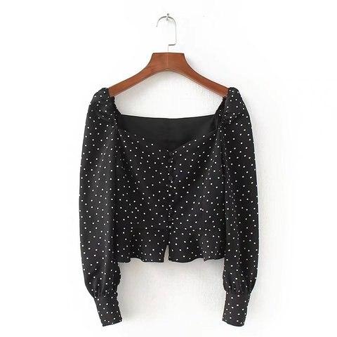 Women Blouses Shirts Vintage Printed buckled long-sleeved shirt ladies ruffled high waist short Streetwear Tops Blusas Mujer De Lahore