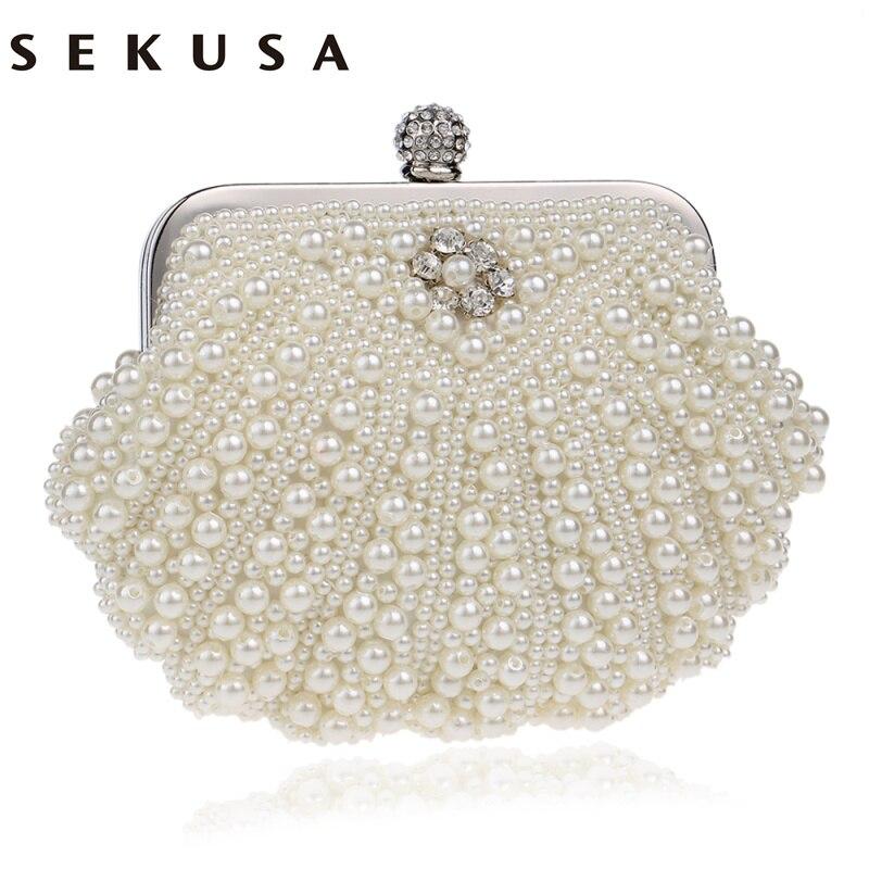 SEKUSA Shell Design Women Evening Bags Beaded Handmade Diamonds Chan Shoulder Messenger Bag Crystal Wedding Evening Bag