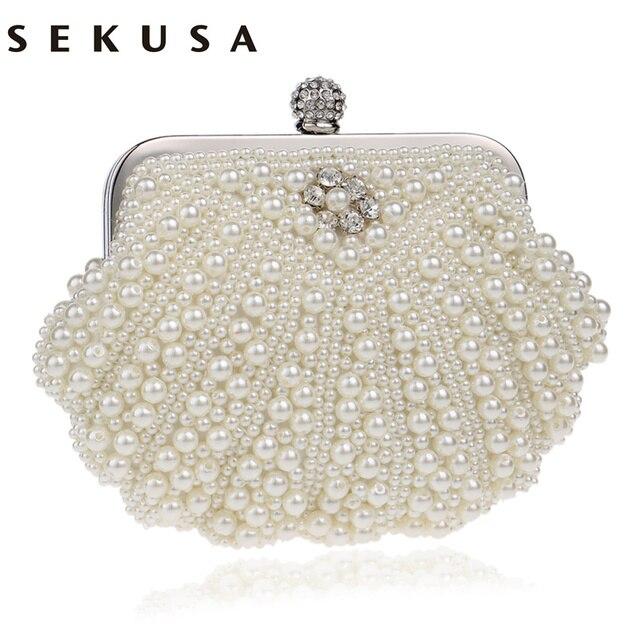3523cfd8c6 SEKUSA Shell Design Women Evening Bags Beaded Handmade Diamonds Chan  Shoulder Messenger Bag Crystal Wedding Evening Bag