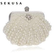 Saco feminino de ombro com cristal, bolsa noturna artesanal com design de concha com cristais e diamantes, para festa e casamento