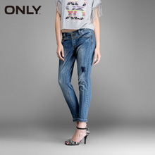 ONLY новые горячие женские сексуальные тонкий эластичный модные старинные Отбеленные отверстие джинсы девушка удобные повседневные джинсовые брюки 114332019