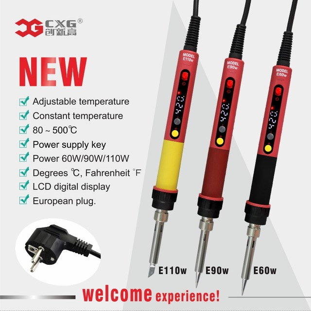 CXG E60WT E90WT E110W Electric Soldering iron LED Digital Adjustable Temperature Ceramics Heater 900M Iron tip 60W 90W 110W