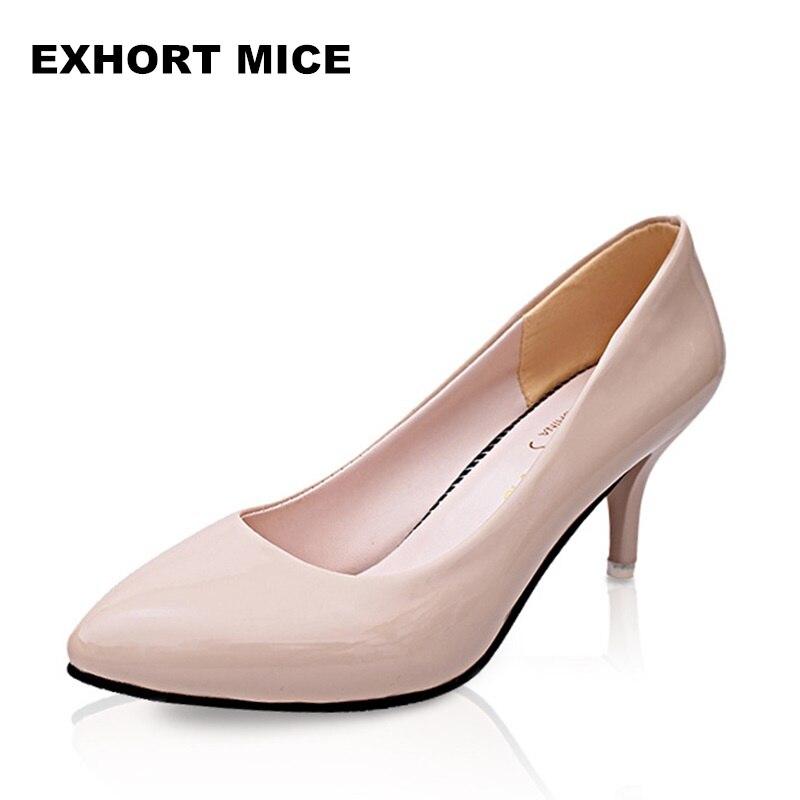 Femme Chaussures Femmes D'affaires blanc Pompes Hauts Mode Mujer Zapatos Sexy Travail De kaki rouge Talons 2018 Bout Pointu Noir Mariage p0SOwwP