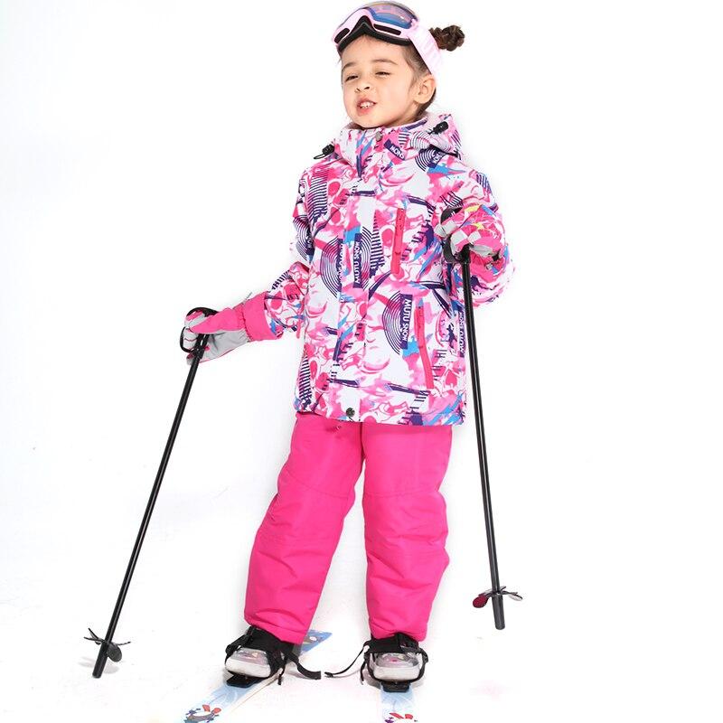 Enfants Ski costume enfants marques coupe-vent imperméable chaud filles et garçon neige ensemble pantalon hiver Ski et snowboard veste enfant - 6