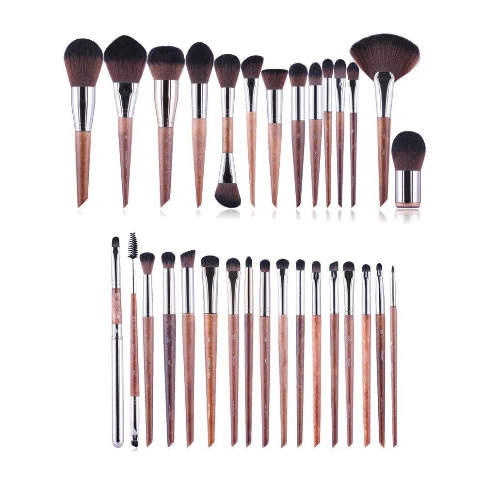 MUFE-SERIES 38-Brosses Brosse Un Ensemble Complet-En Bois Poignée Souple Synthétique Cheveux Professionnel Beauté Maquillage Brosses Kit Outils