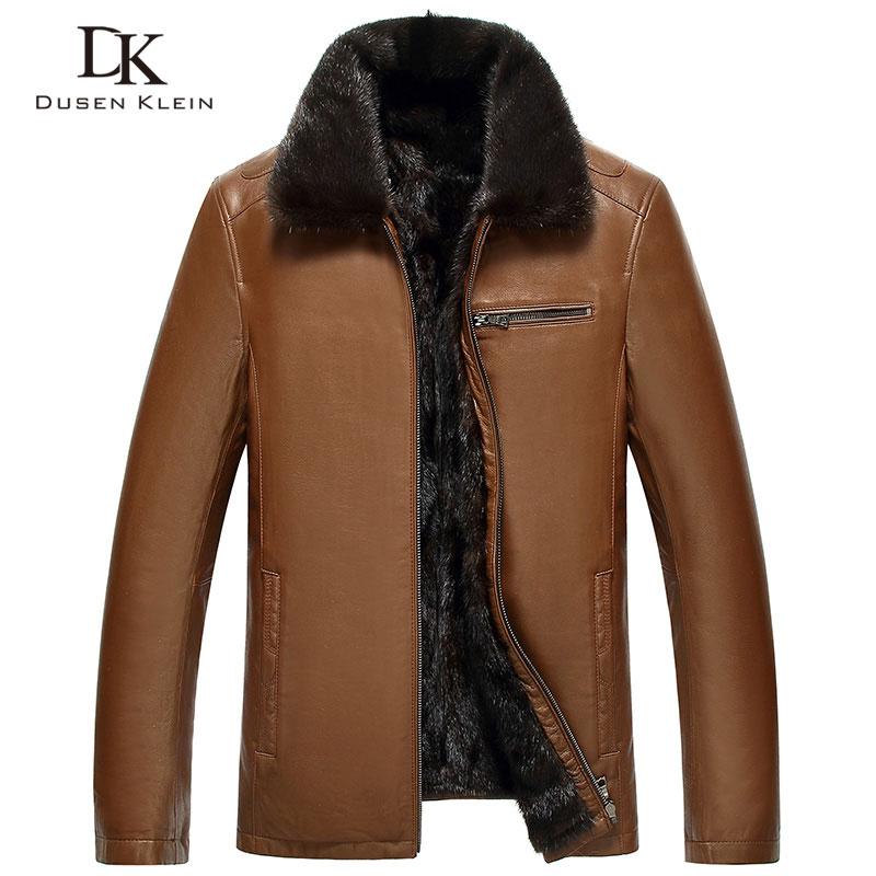 Mink Fur leather jacket men Dusen Klein New Genuine sheepskin Mink fur liner Fur collar thickness winter Outerwear Black 61D1844