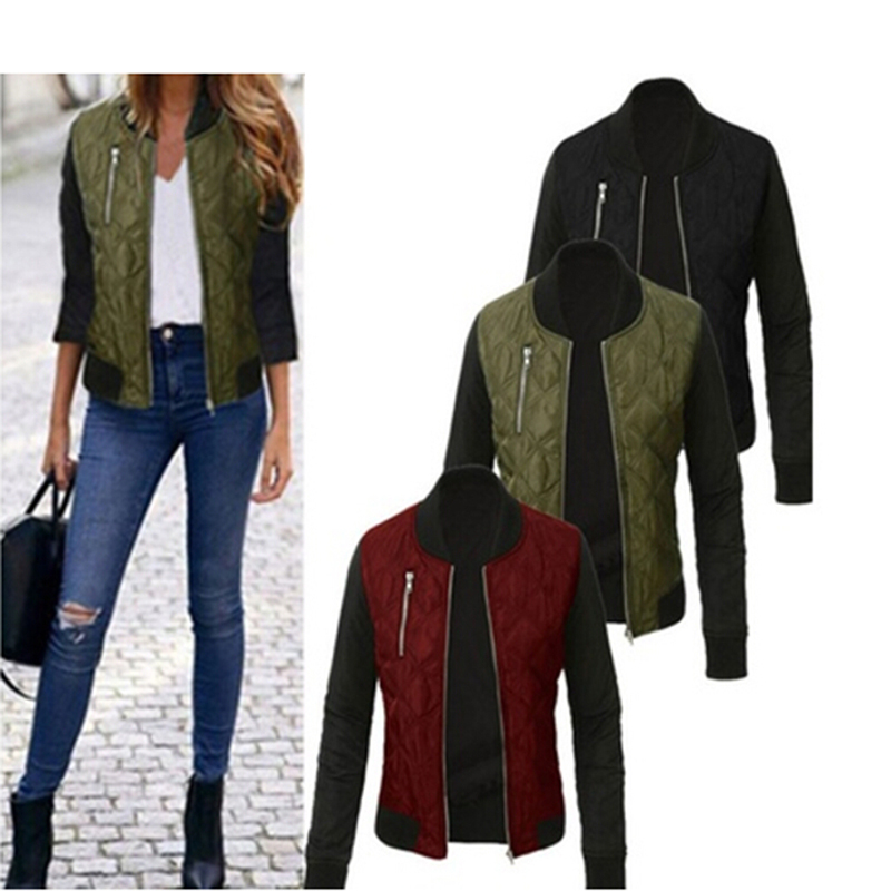 Bigsweety Basic Jacket Autumn Winter Women Coat O-Neck Bomber Jacket Cool Padded Zipper Chaquetas Outerwear Female Tops Coats