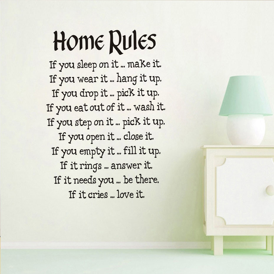 Chinese Factory Design House Rules Wall Stickers Large Wall Decals Text For Living Room Bedroom ...