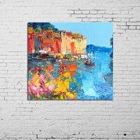 Kunst abstrakte Design helle Farben Landschaft Gondel Ölgemälde Leinwand abstrakte Venedig Landschaft Gondel Schiff Bild auf Leinwand