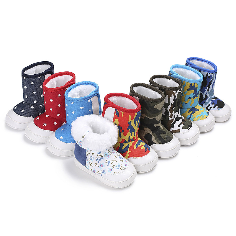 9 Colors New Fashion Canvas Leisure Winter Keep Warm fur Newborn First Walkers Boys Girls Boots Soft Rubber Sole Baby Shoes