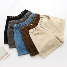 Winter Women Corduroy Elastic Waist Vintage Cuff Casual Shorts Wide Leg 5 Colors