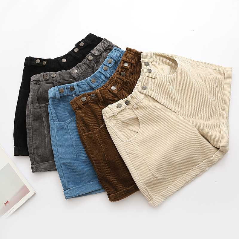 Winter Women Shorts Corduroy Elastic Waist Fashion Vintage Cuff Casual Shorts Wide Leg 5 Colors
