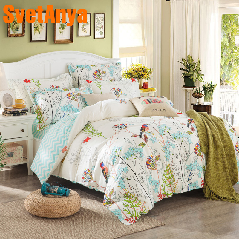 Svetanya Sheet Pillowcase Duvet Cover Set Pastoral Bird
