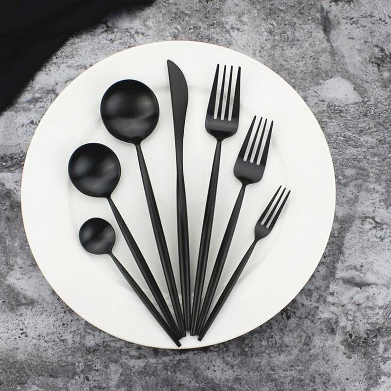 KuBac 7-Pieces Matte Black Dinnerware Set Top Quality 18/10 Stainless Steel Dinner Knife Fork Teaspoon Black Cutlery Set