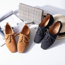 Купить с кэшбэком Women's spring new 2019 shoes front lace-up square head comfortable fashion flat-heeled casual platform shoes womenYasilaiya