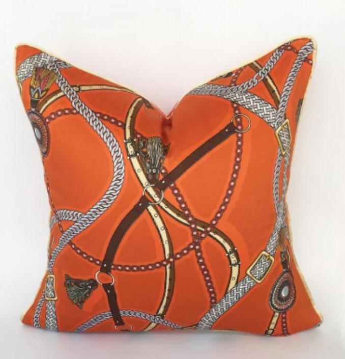 High-end Orange White European Pure Cotton Pillowcase Villa Romantic Cushion Waist Pillow Wedding Gifts Decorative Pillows