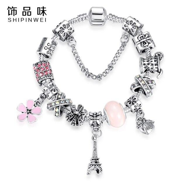 Shipinwei Eiffel Towel Paris Charms Silver Charm Bracelet For Women With Pink Crystal Beads Diy