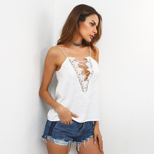 2017 New Summer season Type Tops Ladies Camisole Style Lace Patchwork Deep V Bandage Tank Prime Women Attractive Celebration Membership Tops Tees