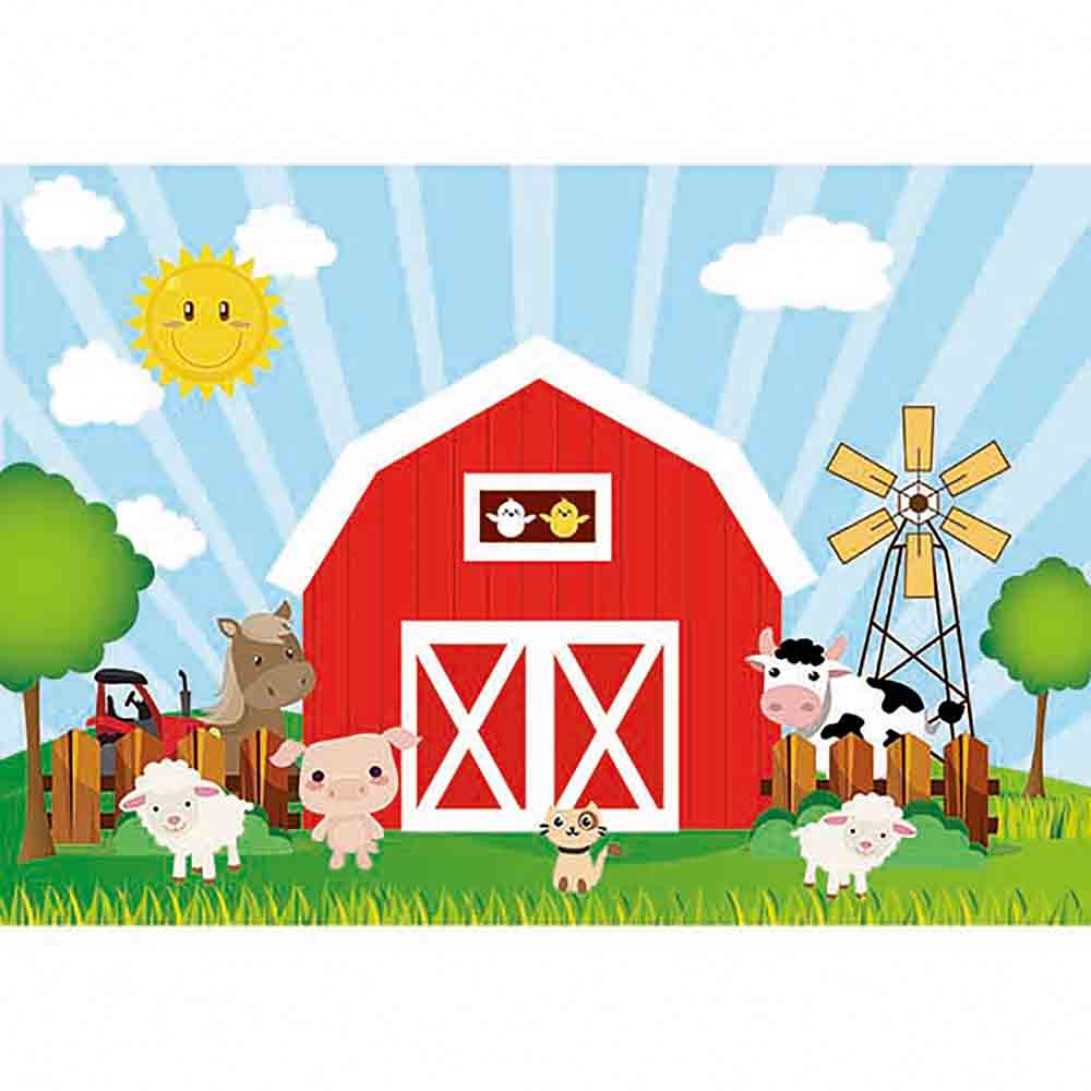 Us 9 58 31 Off Funnytree Backdrop For Photographic Studio Red Barn Farm Animals Warehouse Cartoon Kids Professional Background Photocall In