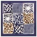 100cm*100cm Twill Silk Women 100% Silk Square Grid Geometric Leopard Dot Printed High Quality Scarf Muslim Hijab 6115