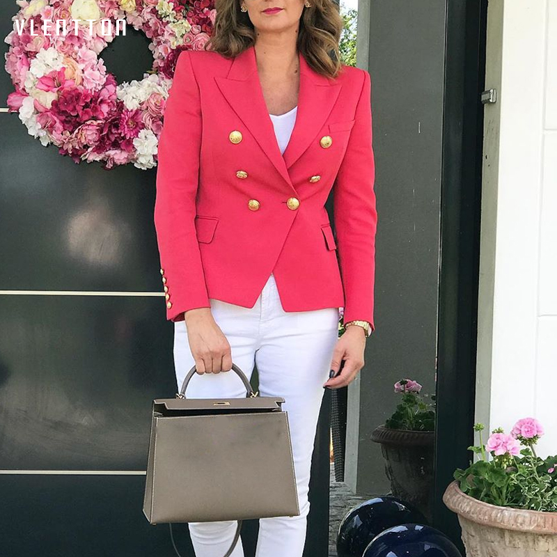 High Quality 2019 Designer Blazer Jacket Coat Women's Lion Buttons Double Breasted Slim Office Ladies Blazers Outerwear Mujer