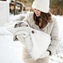 Детские спальные мешки конверты ярких цветов, вязаный кокон для новорожденных, супермягкий зимний теплый