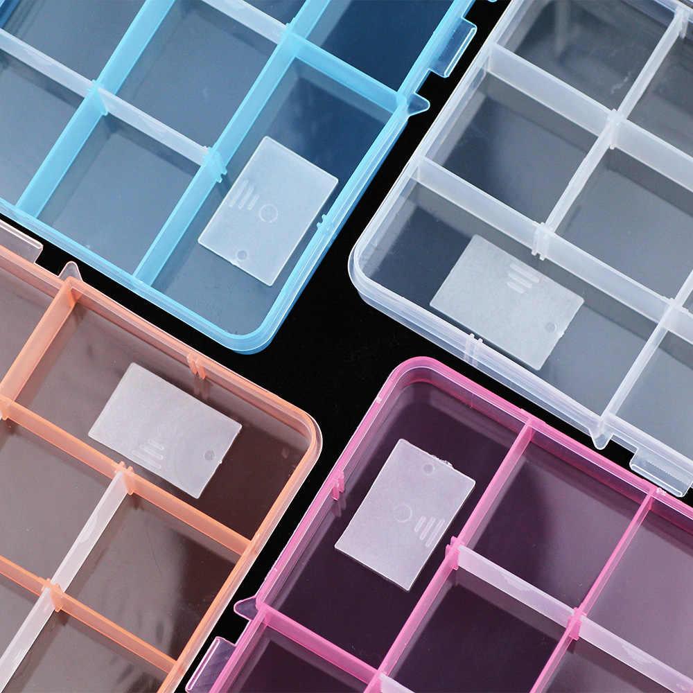 JHNBY قابل للتعديل 15 فتحات صندوق مجوهرات من البلاستيك حقيبة للتخزين الحرفية الحاويات ل أقراط من الخرز خواتم مستطيل عرض علب الهدايا