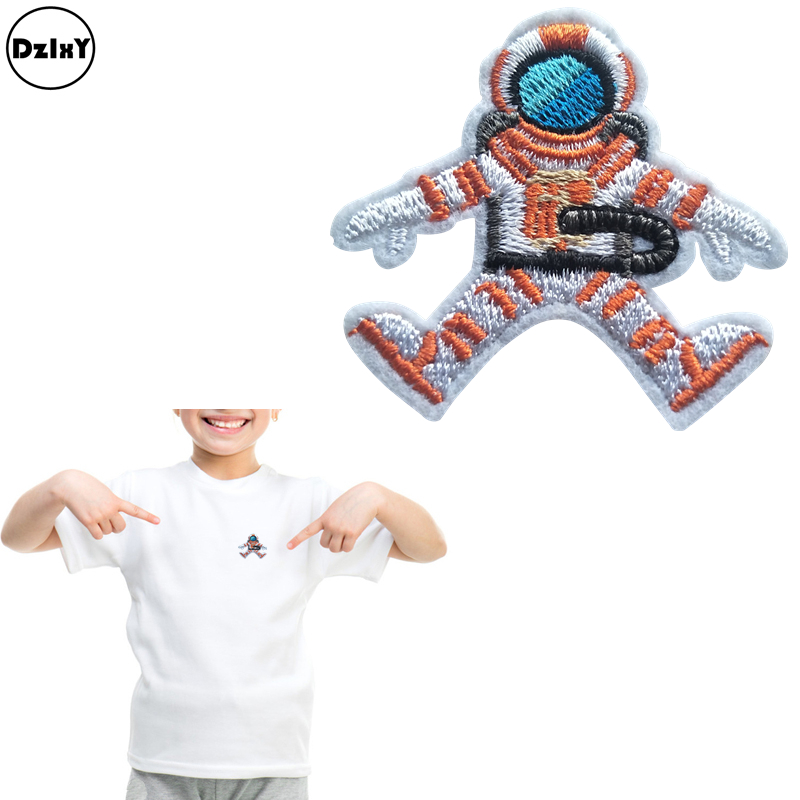 1 PCS Astronaut Embroidery Patches for Clothing DIY Stripes Appliques Clothes Stickers Iron on Alien Badges @Q1