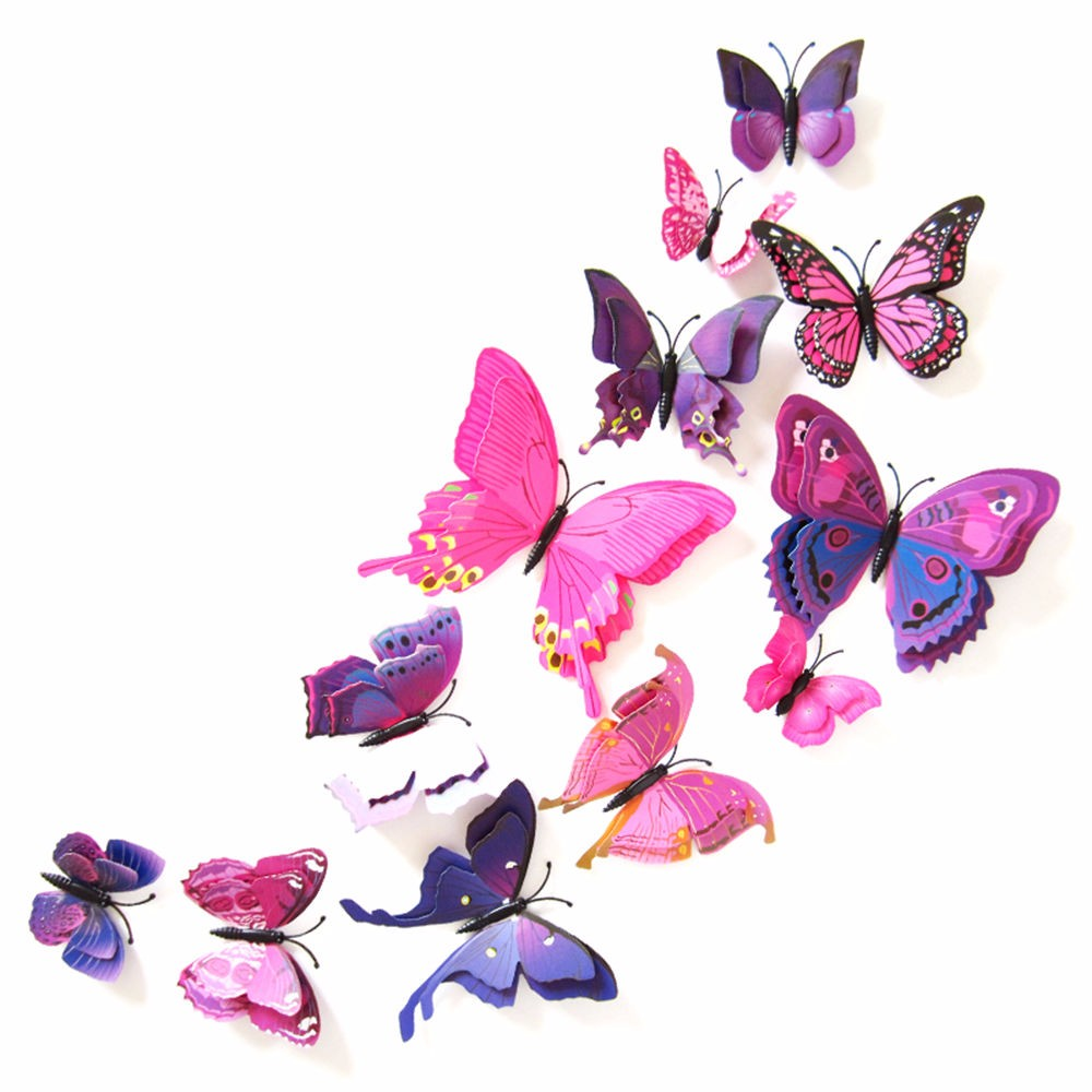 Online Buy Wholesale Tv Butterfly From China Tv Butterfly - Butterfly wall decals 3dpvc d diy butterfly wall stickers home decor poster for kitchen