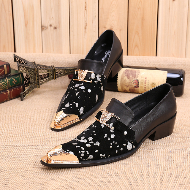 Gold Metallic Male Black Business Shoes Slip On Velvet Shoes Men Dress Shoes Genuine Leather Oxford Shoes