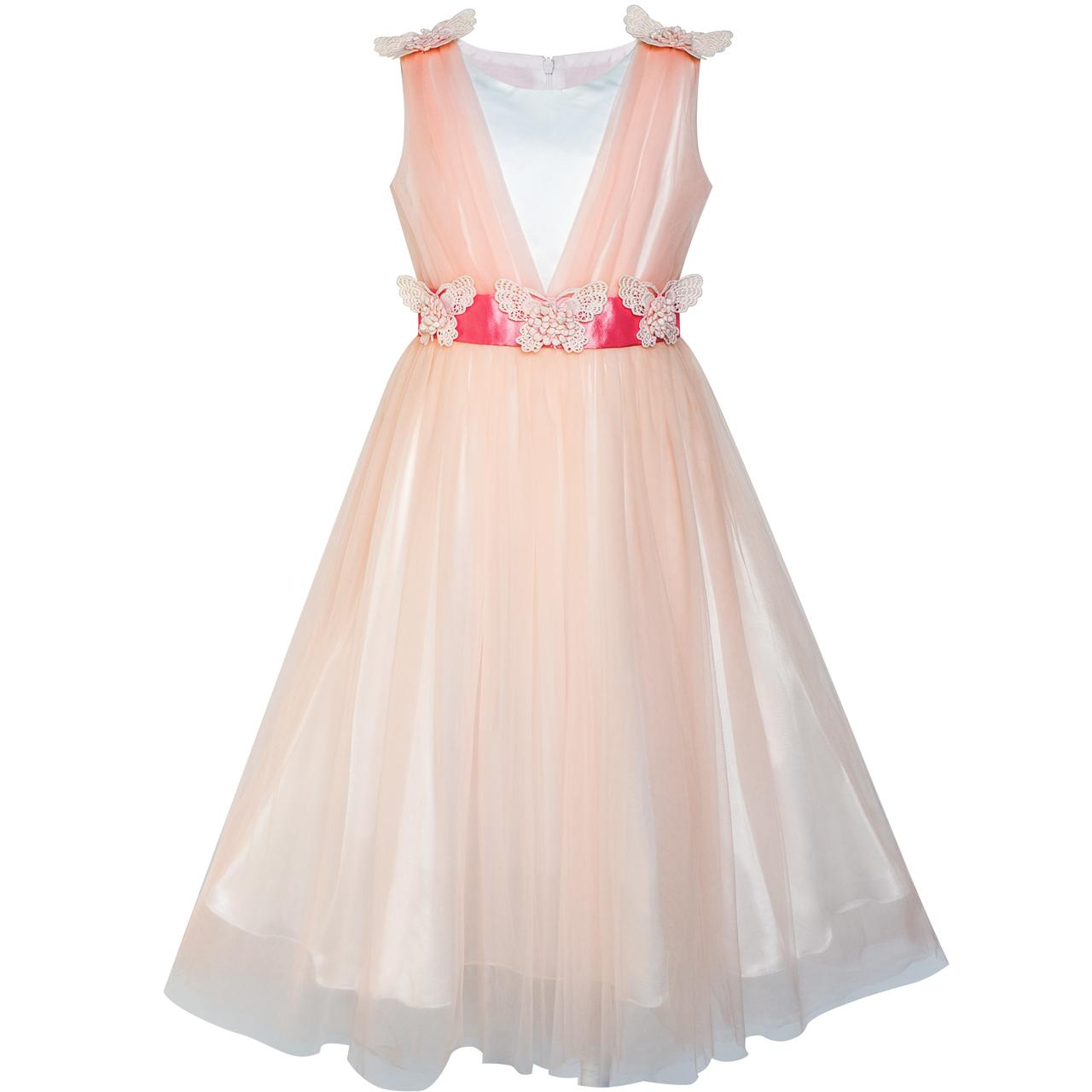 Sunny Fashion Flower Girls Dress Peach Ruffle Butterfly Wedding Bridesmaid 2018 Summer Princess Party Dresses Clothes Size 6-14 sunny fashion flower girls dress peach ruffle butterfly wedding bridesmaid 2018 summer princess party dresses clothes size 6 14
