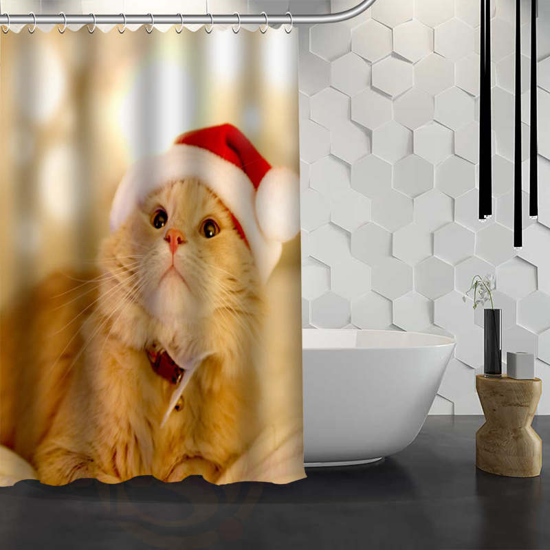 Hot Sale Custom Christmas Animal Dog Cat Shower Curtain Waterproof Fabric Bath For Bathroom FY1 17 In Curtains From Home Garden On