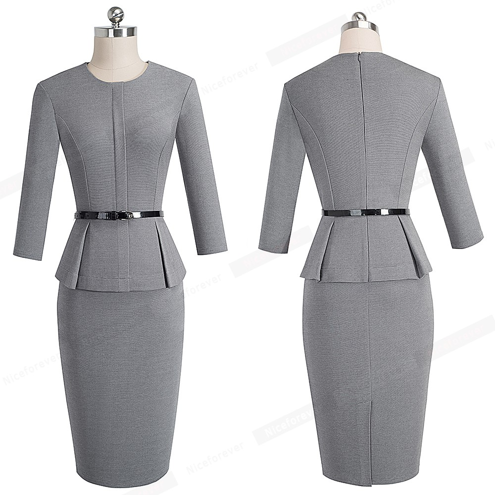 Nice-forever Vintage Elegant Wear to Work with Belt Peplum vestidos Business Party Bodycon Office Career Women Dress B473 7