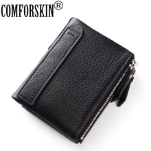 COMFORSKIN Guaranteed Genuine Leather Womens Wallet Short Style Double Zipper Compartment Women Purse Large Capacity Wallets