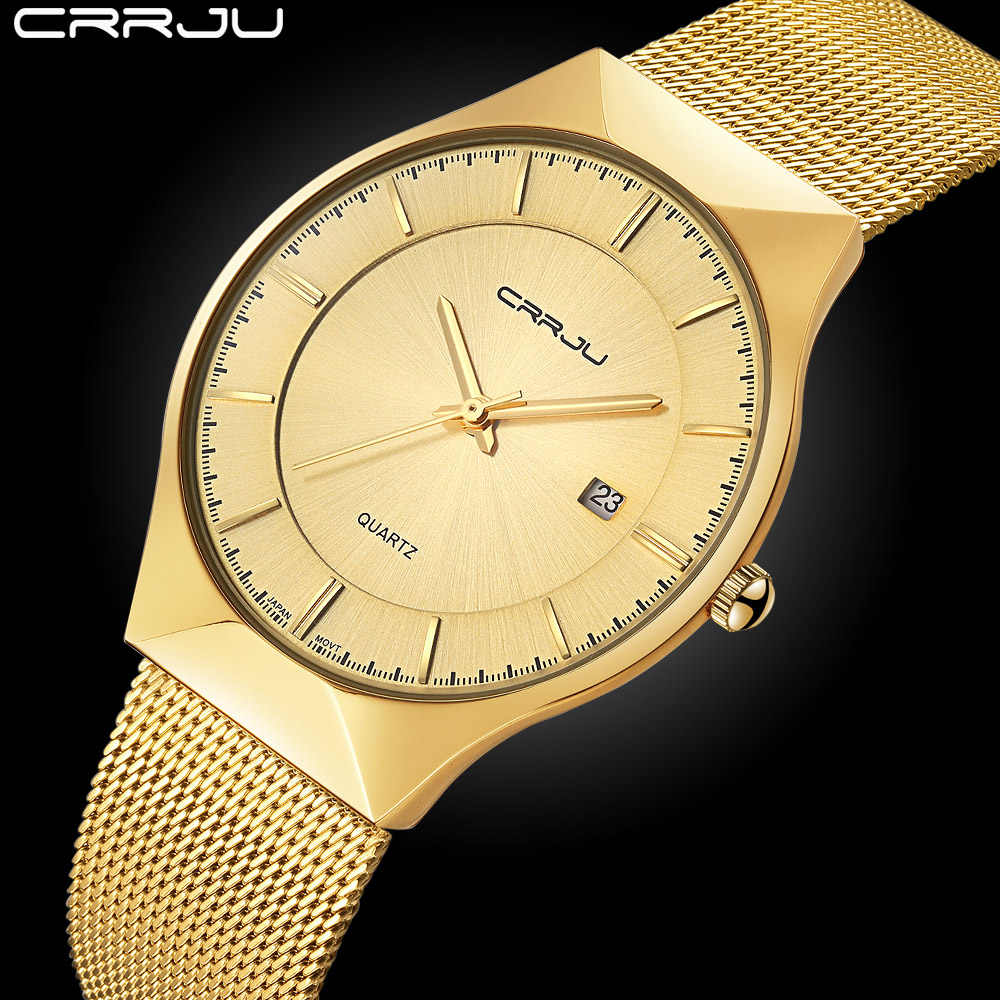 CRRJU Brand golden ultra slim Top thin Quartz-Watch Men Casual Business Watch JAPAN Analog Men Relogio Masculino with gift box bosck women s watch top brand business relogio masculino japan movment tungsten steel man watch dress casual quartz wrist watch