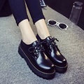 Winter And Autumn Vintage Flats For Schoolgirl Preppy Style Leather Shoes With Suede For Adult c88 15