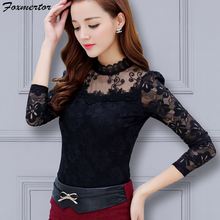 Foxmertor, женские блузки, рубашки, топы,, блуза, весна-лето, модная женская Кружевная блуза с длинным рукавом, рубашка, Повседневная, офисная, для женщин, размер