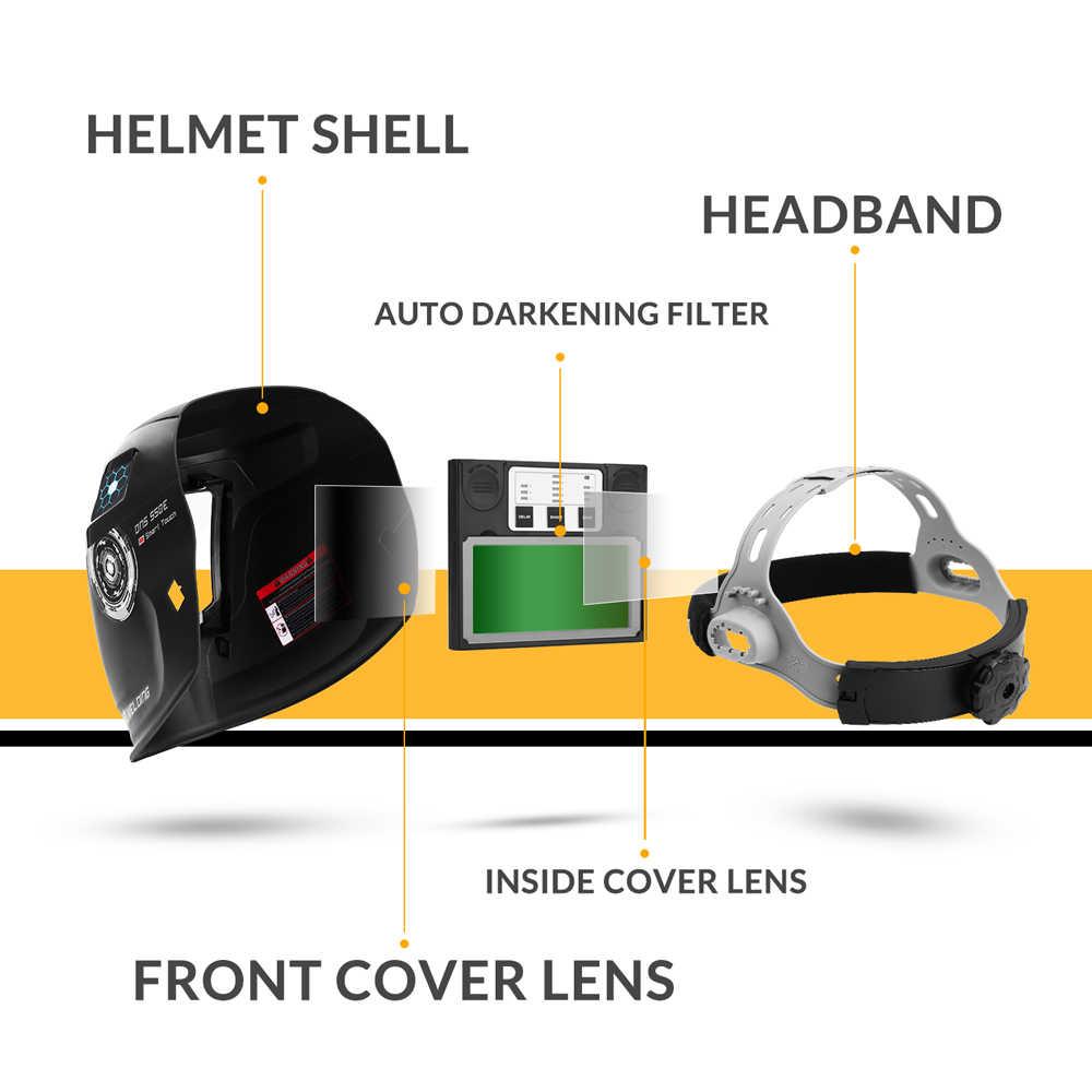 Original deko DNS-550 de energia solar escurecimento automático capacete soldagem soldador lente máscara 92*42cm maior área visão para tig mig mma moagem