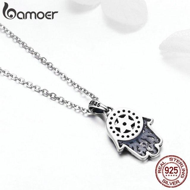 BAMOER Genuine 925 Sterling Silver Trendy Fatima's Guarding Hand Pendant Necklaces Women Fine Silver Jewelry Gift SCN264