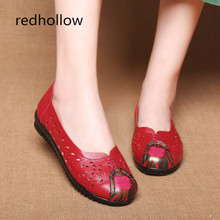 Women Flat Shoes Spring Summer Breathable Casual Shoes Women Soft Cow Leather Shoes Slip On Flats Round Toe Ethnic Shoes Female недорого