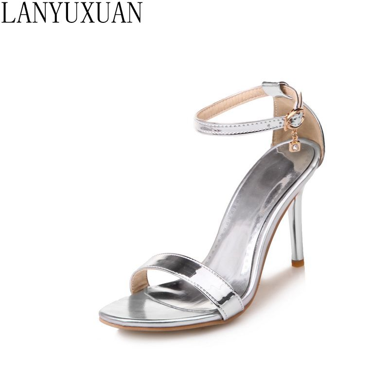 Plus Size 30-50 New Hot Fashion Sandals Women Thin High Heels Buckle Strap Sexy Summer Women Pumps Party Wedding Shoes 172 crystal queen sandals 14cm high heels women pumps sexy style buckle strap white lace pearl tassel fower wedding shoes summer