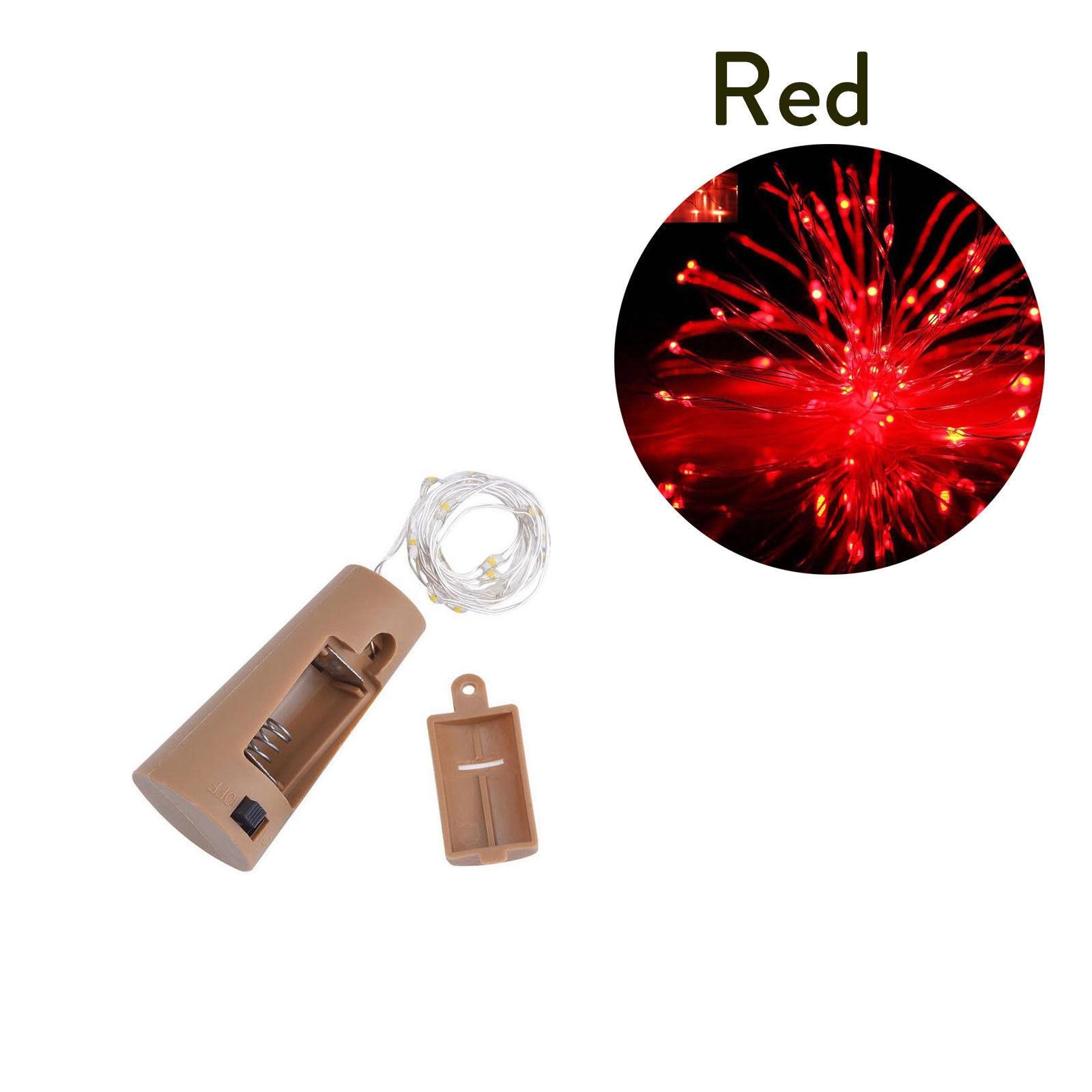 10 20 30 светодиодный s пробковый светодиодный светильник, медная проволока, праздничный уличный Сказочный светильник s для рождественской вечеринки, свадебного украшения - Испускаемый цвет: Красный